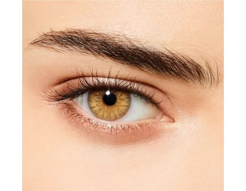 caramel brown colored contact lens